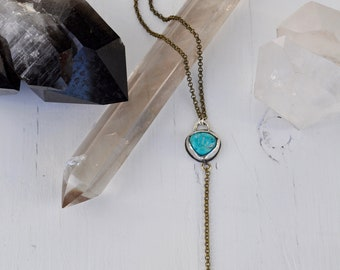Sky People Collection | Turquoise x Tibetan Quartz x Brass x Sterling Silver | Pendulum Necklace