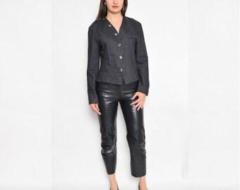 Vintage 80's Grey Wool Button Jacket / Button Short Jacket