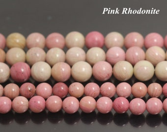 Pink Rhodonite Gemstone Round Beads, Natural Smooth and Round Beads,4mm 6mm 8mm 10mm 12mm Pink Rhodonite Gemstone beads,15 inches 1 strand