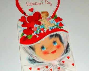 Vintage Happy Valentine's Day Greeting Card, Red Hearts and Cupid, Hallmark, Retro Paper Ephemera, Old Card  (462-11)