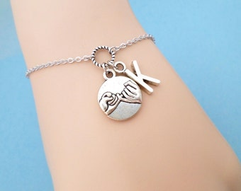 Personalized, Letter, Initial, Pinky, Promise, Silver, Bracelet/ Anklet, Birthday, Lovers, Friendship, Gift, Jewelry