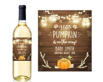 Wine bottle labels fall pregnancy annoucement little pumpkin pregnancy wine label Rustic wood baby announcement grandparents PRINTABLE rlw