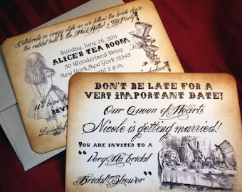 Alice in Wonderland Invitations for Wedding Bridal Shower/Baby Shower/Birthday - Vintage Appearance -  Set of 10
