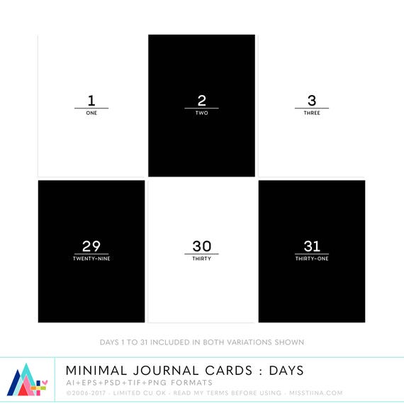 Minimal Journal Cards : Days 3x4 project life inspired