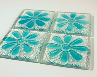 Turquoise Daisy Coasters-FREE UK DELIVERY-Set of 4 Fused Glass Flower Daisy Coasters