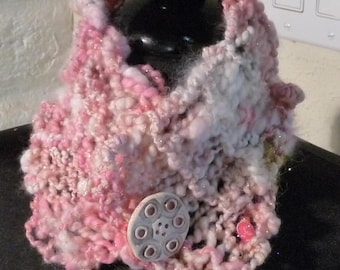Hand Knitted Cowl Scarflette  SNOW PRINCESS