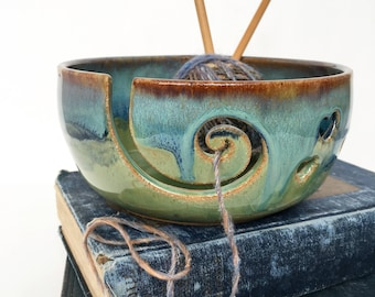 Rustic Green Wheel Thrown Yarn Bowl - Made To Order