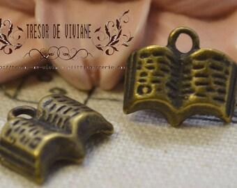 set of 10 QKA063 pendant, bronze, book