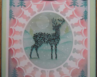 """Handmade Christmas card """"For You Dad this Christmas"""" - bright festive card with reindeer and holly framer. Father, Dad, Pops"""