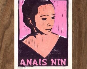 Anais Nin Linocut Handpulled Print