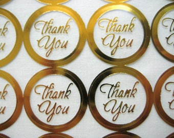 THANK YOU GOLD Print Wedding Round Envelope Seal Stickers, Gold Clear Transparent Round Thank You Sticker Seals, 1 inch, 60 or 100 Stickers