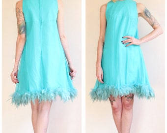 1960s Dress // Teal Feather Party Dress // vintage 60s dress