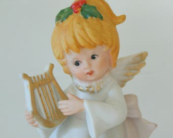 Vintage Homco 5551 Home Interior Bisque Replacement Musician Christmas Angel With Lyre