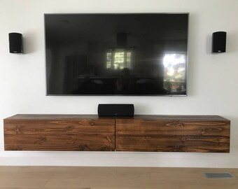 Floating TV Console with 2 Felt Lined Drawers