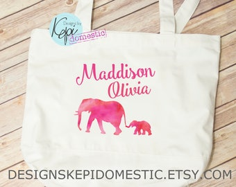 Tote Bag- Personalized- Elephant & Baby