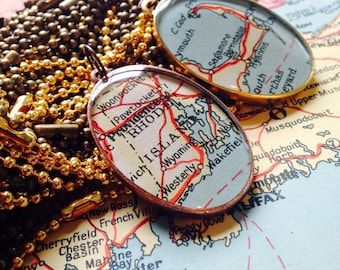 Rhode Island Map Pendant,Large Oval Map Pendant, Copper setting with original 1937 vintage map