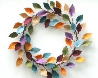 "Colorful Wreath with Felt Leaves - 16"" Outside Diameter - Modern Everyday Wreath - Felt Leaf Wreath - Made to Order"