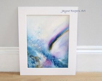 ORIGINAL ART - Landscape Painting, Paintings Original, Abstract Painting, Landscape Art, Landscape Wall Art, Blue Painting, Rainbow Art Work