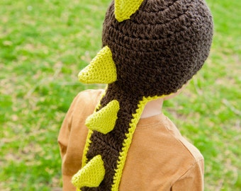Crochet Pattern - Dinosaur Hat or Dragon Hat Pattern