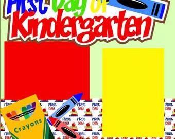 Scrapbook Page Kit 1st Day of Kindergarten  Premade Scrapbook Pages 2-Page Scrapbook Page Kit or Premade Layout