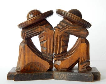 Vintage Carved Wood Bookends Mexican Siesta Sleeping Men Sombrero Folk Art Rustic Southwest Home Decor