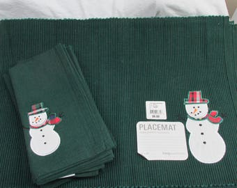 6 New Christmas Plaid Embroidered Snowman Matching Placemats and Napkins