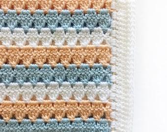 Crochet Modern Granny Blanket in Peach and Blue Pattern