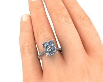 Emerald Cut or Radiant Cut Engagement Ring, 5 Carat SuperNova, Harro Moissanite, 18k Rose Gold, Conflict Free Diamonds, Diamond Alternative