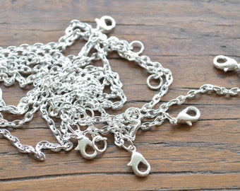 Silver Necklace. Lobster Clasp Necklace. Rolo Silver Necklace. PACK 10. Jewellery Supplies. Sydney Australia. 22 inches