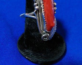 Navajo Size 7 Red Mediterranean Coral Sterling Silver Collectible Signed Justin Morris Arizona Native American Ring