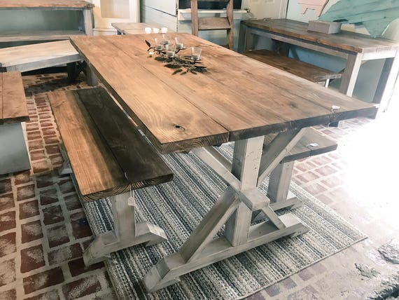 Rustic Pedestal Farmhouse Table With Benches Provincial Brown
