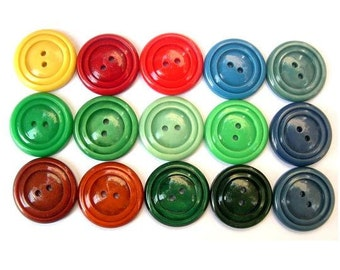 15 Vintage buttons, 15 colors, plastic buttons, 22mm, proper for button jewelry