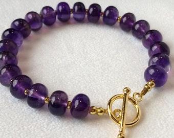 Purple Amethyst & 14 K Gold Micron Plated Sterling Bracelet,February Birthstone,Handmade, Stacking Bracelet,Gift for Her/@ IndigoLayne