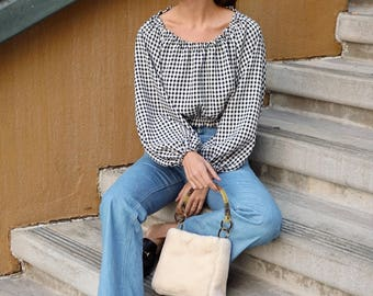 GINGHAM PEASANT BLOUSE | Pretty Retro Peasant Styling | Great with Jeans Skirt or Shorts | In Tan or Black Plaid