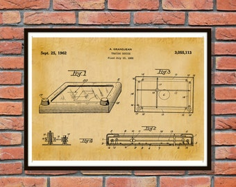 1962 Etch-A-Sketch Patent - Tracing Device - Art Print - Wall Art - Game Patent -Toy Patent Childrens Toy Childs Toy - Game Room Wall Art