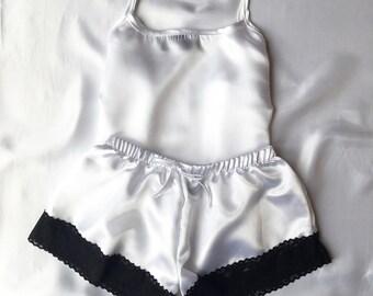 White with Black Lace Satin Pyjamas