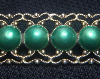 Exquisite vintage handcrafted gold vermeil brooch with iridescent green enamel cabochons in perfect condition