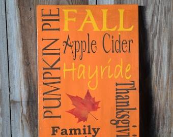 Autumn/Fall/Thanksgiving Subway Art Wood Sign