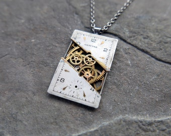 "Watch Dial Necklace ""Dekker"" Deconstructed Cut Face Pendant Recycled Upcycled Gear Art Steampunk A Mechanical Mind Gift Idea"