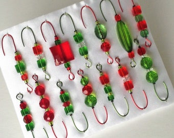 Christmas Ornament Hanger Hooks  -  Red and Green Beads on Red and Green Wire - FREE SHIPPING