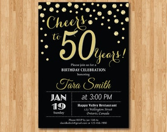 40th birthday invitation gold glitter cheers to 40 years 50th birthday invitation gold glitter cheers to 50 years birthday party 30th 40th stopboris Gallery
