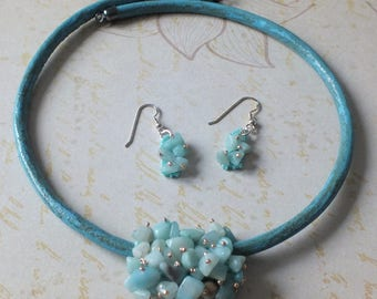 Amazonite Cluster Necklace & Earrings