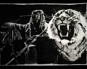 Khary Payton as King Ezekiel with Shiva - The Walking Dead Ink drawing