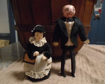 Vintage Hand made Butler and Chamber Maid Dollhouse Dolls