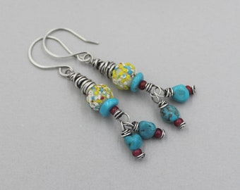 Funky Colorful Artisan Earrings, Turquoise Dangle Earrings, Antique African Trade Beads, White Heart Beads, Fun Boho Earrings, Bohemian