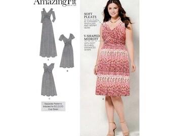 Women's Knit Dress Sewing Pattern, Maxi or Knee Length, Plus Size 20W-22W-24W-26W-28W Bust 42-44-46-48-50 Uncut Simplicity 1102