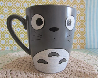 Grey Hand Painted Totoo cup//grey handpainted mug of Totoo-My Neighbor Totoo//My neighbour Totoo-Ghibli
