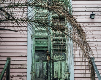 New Orleans Weathered Treme Door Greeting Card