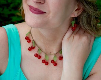Cherry Red with leaf green light bronze - style necklace kawaii / rockabilly / pinup - for the hungry!