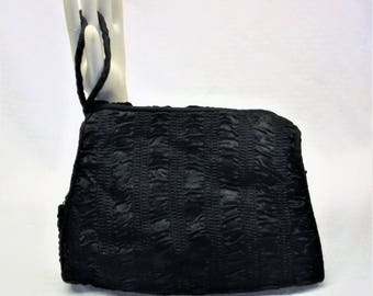 30s 40s Vintage Black Velvet and Silk Muff Purse